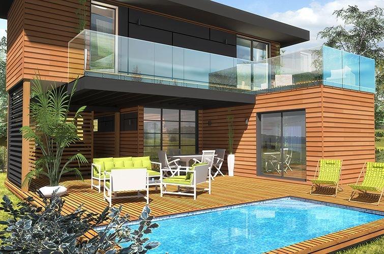maison modulaire moderne bois 65 m construction modulaire. Black Bedroom Furniture Sets. Home Design Ideas
