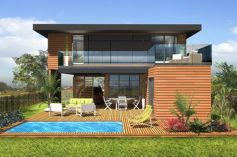 Maison modulaire moderne bois 65 m construction modulaire for Maison en bois martinique prix