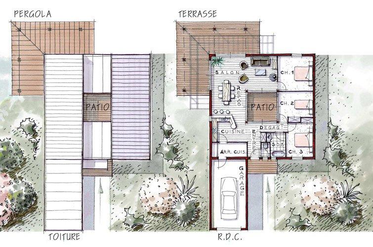 Maison iris 96 m avec patio in rieur terrasse et 3 chambres for Patio exterieur plan