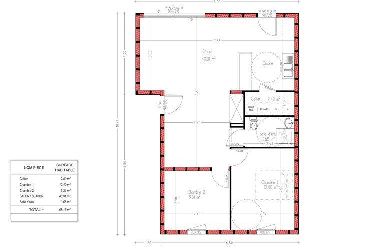 Maison Modulaire Plain Pied Rt2012 De 69 M Avec 2 Chambres