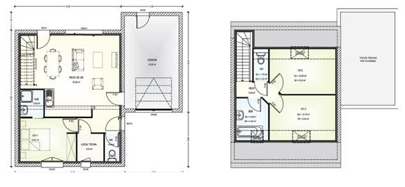 Marvellous Plan Maison Etage  Chambres Ideas  Best Image Engine
